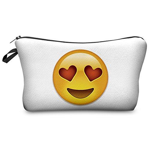 Emoji Love Smileys Emoticon Kosmetiktasche Federmappe Mäppchen Tüte Beutel Zipper Kulturbeutel Make Up Bag Reißverschluss Full Print All Over Kosmetiktüte
