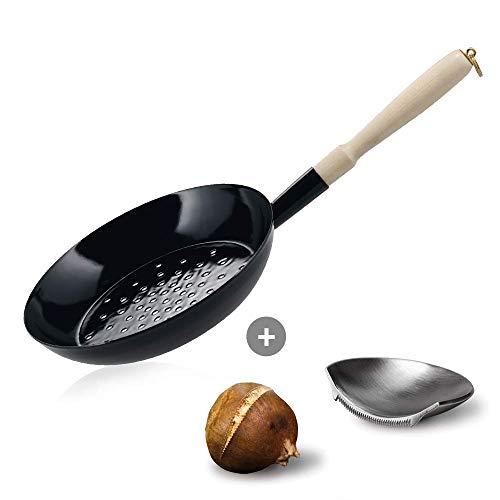 Culinaris Set Riess - Padella Smaltata per maronare, 26 cm, con Jack der Maronischnitzer di Take2