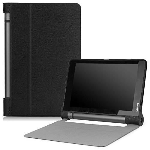 MoKo Lenovo Yoga 3 10 Hülle - Ultra Lightweight Slim PU Leder Tasche Schutzhülle Schale Smart Shell Case Cover mit Standfunktion für Lenovo Yoga Tablet 3-8 20,3 cm (8 Zoll IPS) 2015 Tablet, Schwarz