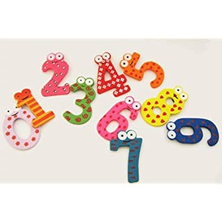 A-SZCXTOP 10PCS Wooden Fridge Magnet Number Magnetic Numbers Baby Childrens Toy Fun Game Kids Learn Educational Toys