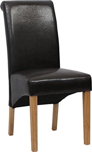 2 x Lavin Lifestyle Leather Black Dining Chair w Oak Finish Wood Legs Roll Top High Back by Lavin Lifestyle
