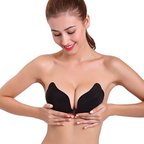 Colleer Damen Self Adhesive Silikon nackt unsichtbar Push-Up rückenfreie BHs ohne Träger Trägerloses Flügel Selbstklebendes Klebe-BH (D, Schwarz)