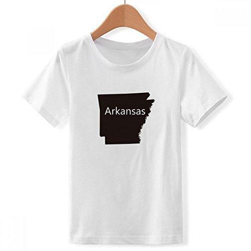 DIYthinker Jungen Arkansas Amerika USA Karte Silhouette mit Rundhalsausschnitt Weißes T-Shirt Small Mehrfarbig -