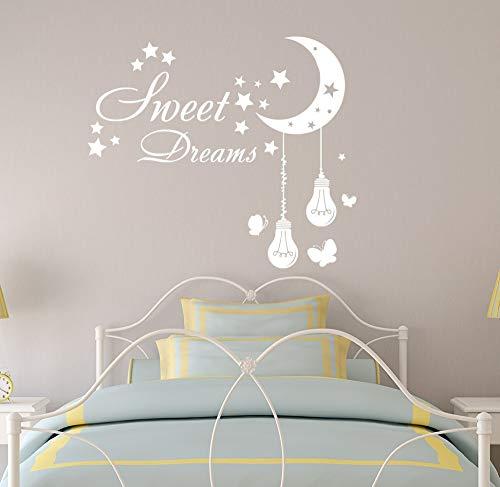 jiuyaomai Süße Träume Zitat Wandtattoo Kinder Kinderzimmer Schlafzimmer Sterne Vinyl Wandaufkleber Mond Lichter Birne Schmetterling Muster Geschenke DIY 57x65 cm