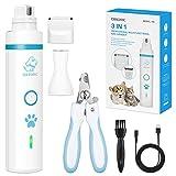 OMORC 3 In 1 Krallenschleifer für Hunde, Haustiere Schleifer, elektrische Krallenpflege für Kleintiere, 2 Geschwindigkeiten, Krallenschere für Hunde und Katzen, 1 Schleifscheibe + 2 Klinge