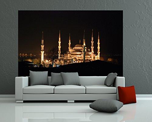 selbstklebende Fototapete Moschee bei Nachts 230x150 cm - Tapete mit Klebstoff – Wandtapete – Poster – Dekoration – Wandbild – Wandposter – Wand – Fotofolie – Bild – Wandbilder - Wanddeko