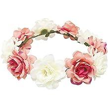 ... con fiori e nastro. Homeofying Handmade boho fiore fascia per capelli  Halo floreale ghirlanda corona coroncina festival matrimonio ef36ff29b207