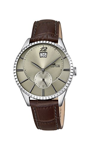 Lotus Men's Quartz Watch with Beige Dial Analogue Display and Brown Leather Strap 18322/2