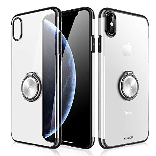 XUNDD Schutzhülle mit Metallständer für iPhone XS/X,Ultradünnes iPhone Case für magnetische KFZ-Halterung mit 360-Grad Finger-Halter,Transparente PC Schale Glänzende Details (iPhone XS/X,Schwarz)