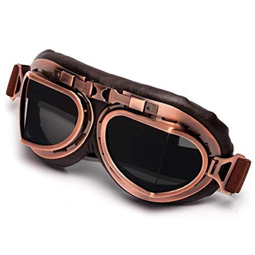 ColorJoy Motorradbrille Retro Vintage Schutzbrille Pilotenbrille Schutzbrille Aviator Brille Helm, 3, Einheitsgröße