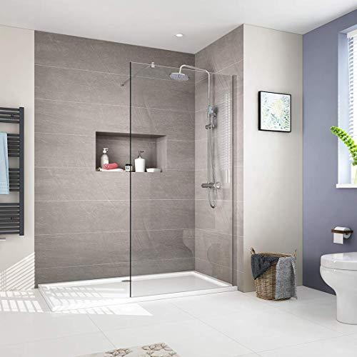 8mm Walk in Duschwand Duschtrennwand 90x200cm Walk-In Dusche Duschkabine Duschabtrennung mit Nano-Beschichtung, Transparent glas