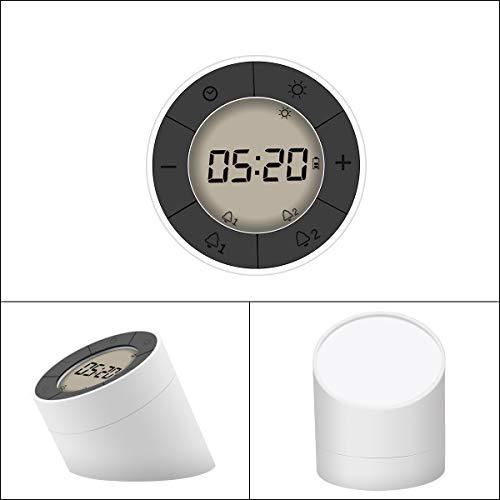Lichtwecker , GLISTENY Wecker LED, mit Digitalem Wecker und Schlummer Modus, Leicht zu Lesen, Dimmbares Licht für Tag, Nacht, Schlafzimmer, Küche, Büro usw. (Weiß + Weißes Licht)