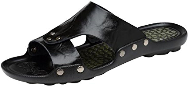 Hibote Herren Flip Flops  Sommer Ledersandalen Männer Casual Mode Hausschuhe Flip Flops Outdoor Beach Holiday