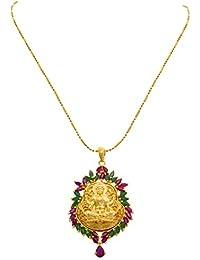 JFL - Traditional Ethnic Temple Goddess Laxmi One Gram Gold Plated American Diamond Ruby And Green Stone Designer...