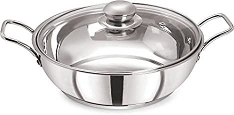 Pristine Induction Compatible Stainless Steel Sandwich Base Kadai with Glass Lid, 25 cm, 3Litres, 1PC, Silver