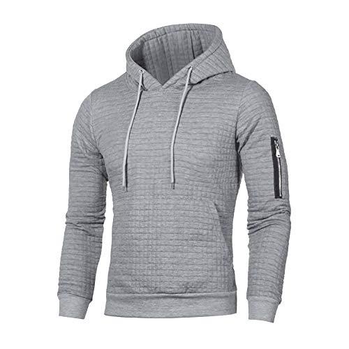 gfjhgkyu Dekorativer Zipper,schlichtes Design,Hooded,komfortabel Sports Men Casual Sweatshirt Hooded Top Decorative Zipper Long Sleeve Hoodies-Light Gray L