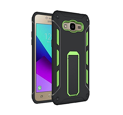 YHUISEN Galaxy J2 2016 Case, Cool Shockproof Rüstung Hybrid 2 In1 TPU und PC Rugged Dual Layer Mit Kickstand Fall für Samsung Galaxy J2 2016 ( Color : Black ) Green