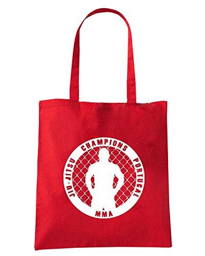 T-Shirtshock - Borsa Shopping TAM0190 JIU JITSU hooded tshirt Rosso