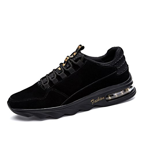 uomo Air Scarpe da Ginnastica scarpe cuoio sportive Casual Sneakers Fitness Interior all'Aperto Nero
