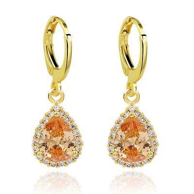 Luxury Gold& Golden Shadow Champagne zirconi cerchi E814-Orecchini pendenti a goccia - Champagne Zirconi Goccia