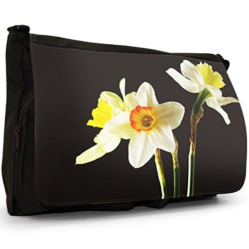 Fancy A Bag Borsa Messenger nero Daisy Daffodil Or Narcissus Flowers
