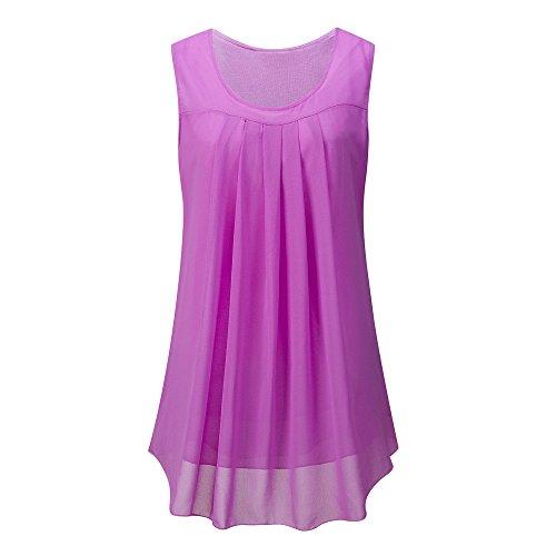OverDose Damen Sommer Ärmellos O-Ausschnitt Casual Chiffon Solide Weste Bluse Tank Tops Camis Frauen T Shirt Tees (Violett,EU-48/CN-XL)