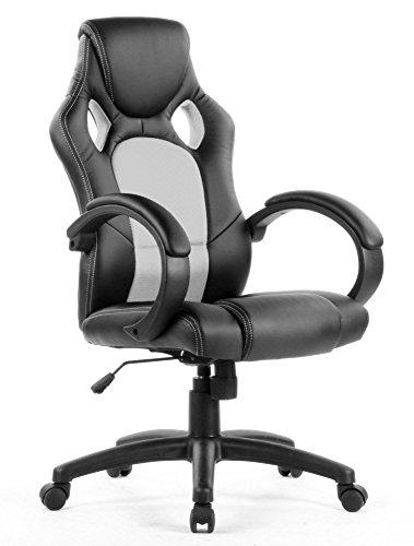 Eliza Tinsley PU Racing Style Gaming Chair - Black/White