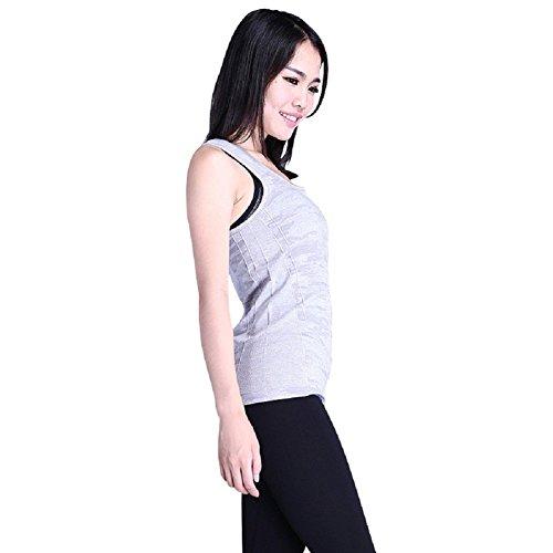 BOMOVO Damen Spotiv Kurzärmelig Rundausschnitt Jacquardbindung Yoja Schlank Top T-Shirt Grau