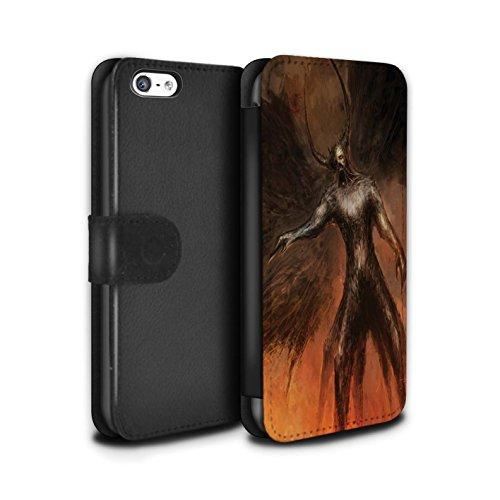 Offiziell Chris Cold PU-Leder Hülle/Case/Tasche/Cover für Apple iPhone 5C / Getarnte Teufel Muster / Dunkle Kunst Dämon Kollektion Schwarzen Flügeln