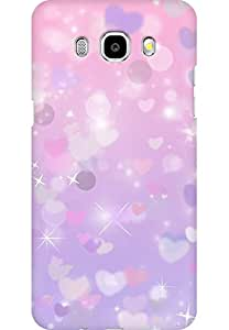 AMEZ designer printed 3d premium high quality back case cover for Samsung Galaxy J7 (2016) (purple sparkle hearts)