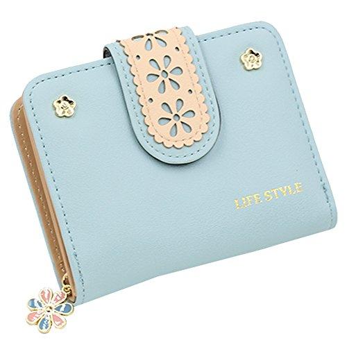 Woky Klein Geldbörse Damen Kurz Portemonnaie Mädchen Mini Geldbeutel RFID knopf Portmonee Frauen Geldtasche mit Reißverschluss