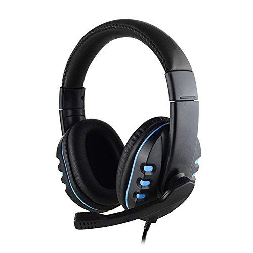 Casque stéréo filaire pas cher Gaming Over Ear Earphones avec micro pour PS4 3.5mm (Bleu)