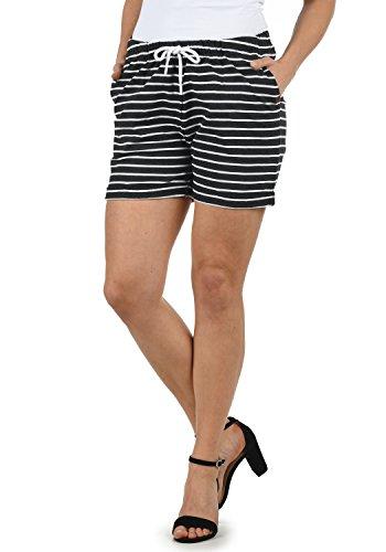 DESIRES Lena Damen Sweatshorts Bermuda Shorts Kurze Hose Mit Stretch-Material Und Streifen-Muster Regular Fit, Größe:M, Farbe:Dark Gr/WH (8288W) (Gestreift Baumwolle Shorts)