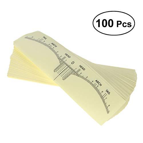 Lurrose 100pcs sopracciglio righello monouso accurato sopracciglio righello trucco adesivo sopracciglio microblading righello guida strumenti di modellatura sopracciglio per le ragazze donne