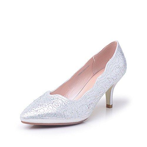 Chaussures d'été/Female coréennes high heels/Chaussures à talon pointus/ chaussures légères de diamant B