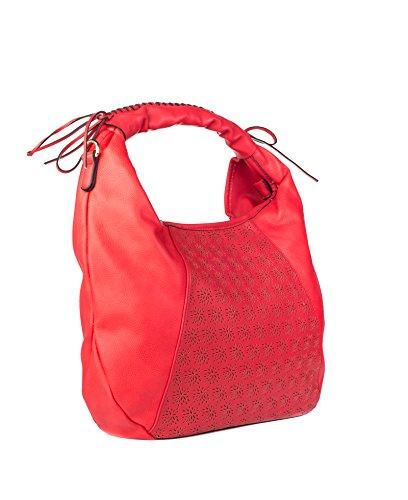 Divinity Bags - Sac à main imprimée avec poignées pour porter à épaule, poches (intérieur et extérieur) et différents compartiments (bandoulière inclus) Rouge