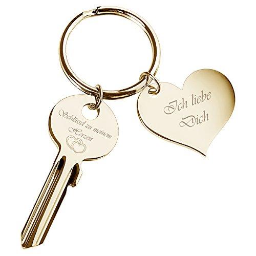 """Schlüssel zu Meinem Herzen mit Herz-Anhänger in Gold """"Ich Liebe l Geschenke zum Jahrestag (Herz Schlüssel Anhänger)"""