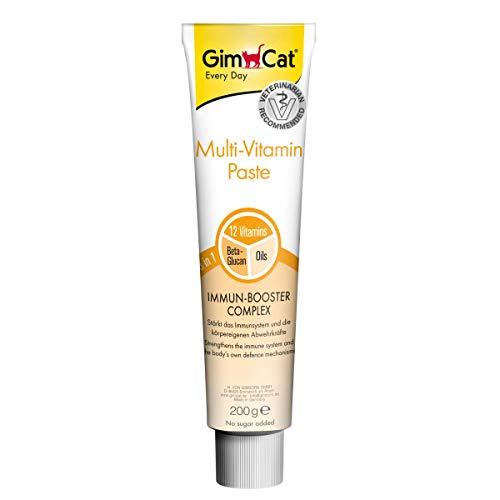 GimCat Multi-Vitamin Paste, Nährstoffreicher Katzensnack mit Immun-Booster Complex für ein starkes Immunsystem, Enthält Beta-Glucan und hochwertige Öle, 1 Tube