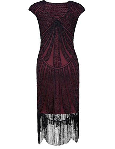 PrettyGuide Damen 1920er CocktailKleid Perlen Art Deco Flapper Charleston Kleid Burgund