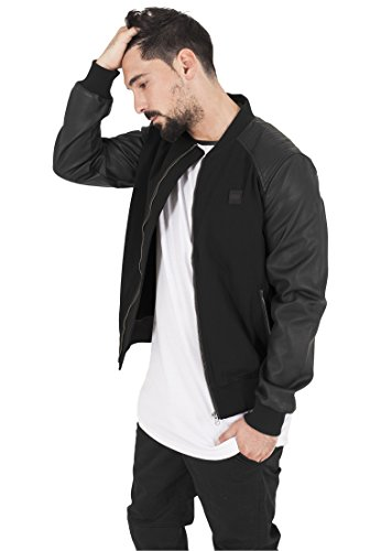 Bomber Classic Hut (Cotton Bomber Leather Imitation Sleeve Jacket blk/blk M)