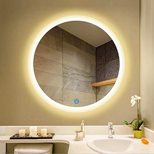 ZNDDB Kosmetikspiegel Intelligenter LED-Lichtspiegel runder Badezimmerspiegel,A