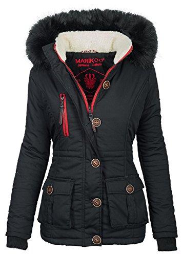 Marikoo Damen Winter Jacke Parka Winterjacke Teddyfell gefüttert B384 [B384-Rosewater-Schwarz-Gr.XL]