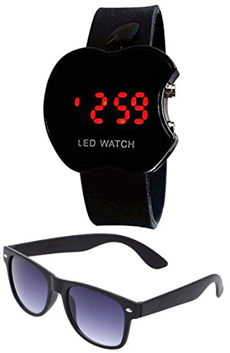 Sheomy Unisex Combo Pack of Sunglasses and LED Digital Black Dial Apple Shape Watch Best Online Gifts