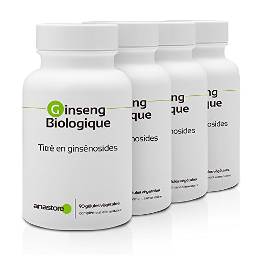 GINSENG ECOLÓGICO OFERTA 3+1 GRATIS | 200 mg / 360 cápsulas | Energia (fatiga), Equilibrio emocional, Líbido | Fabricado en Francia