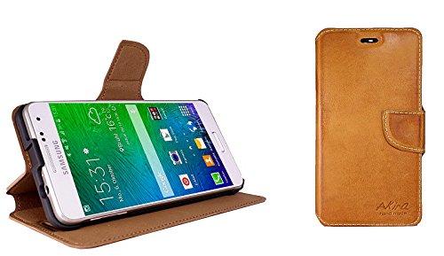 Akira Handmade Original Premium qualità Pelle Vera Wallet Case per Samsung Galaxy Alpha SM-G850F Rosolare