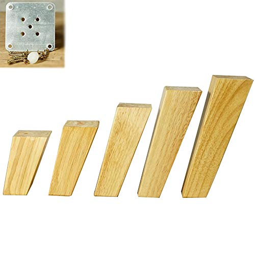 AZXC 4 × Massivholz MöBel Beine, DIY Holz Sofa UnterstüTzung Fuß Schrank Fuß Tisch Beine SchräGe Einheit Tisch (Schraube + Feste StüCk + Fuß Nagel) -