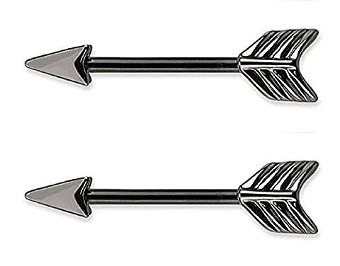 Bodya flèche Barres de piercing pour téton Barbell Anneaux 14g en acier inoxydable 316L?vendus par paire Argenté/noir - noir