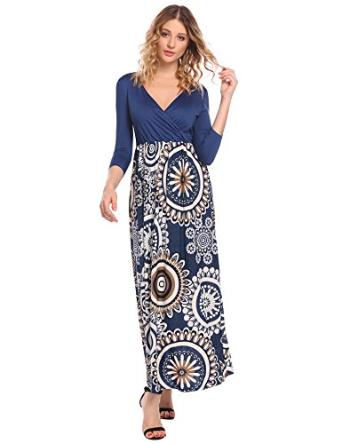 HOTOUCH Damen Maxikleid Strandkleid Striped Ärmellos High Waist Tiefer V-Ausschnitt mit dem Gürtel Sommerkleid Ballkleid Cocktailkleid Partykleid Typ3_Blau