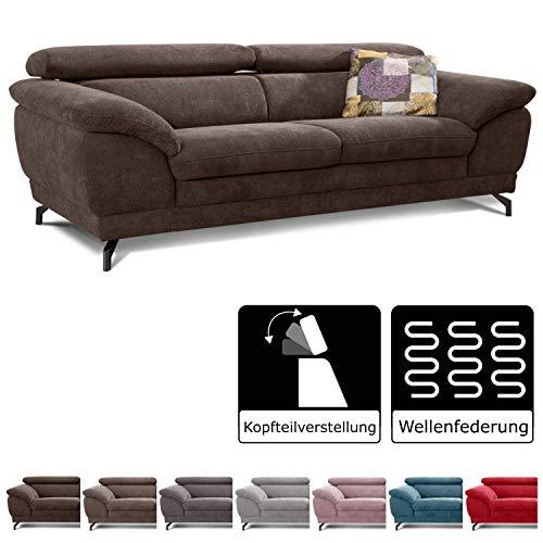 Cavadore Sofa Sheldon / Große Couch mit verstellbaren Kopfstützen im modernen Design / 219 x 78 x 101 / Dunkelbraun