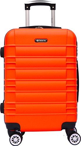 SHAIK SerieCLASSIC JFK Design Hartschalen Trolley, Koffer, Reisekoffer 4 Doppelrollen Zwillingsrollen, Zahlenschloss (Handgepäck, Orange)